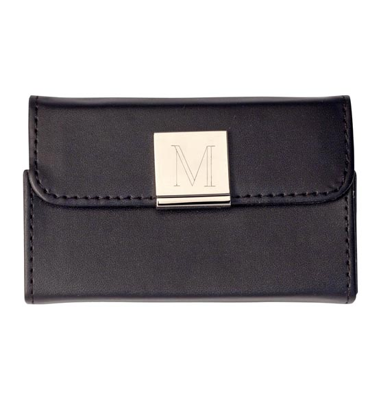 Monogrammed Black Business Card Case - View 2
