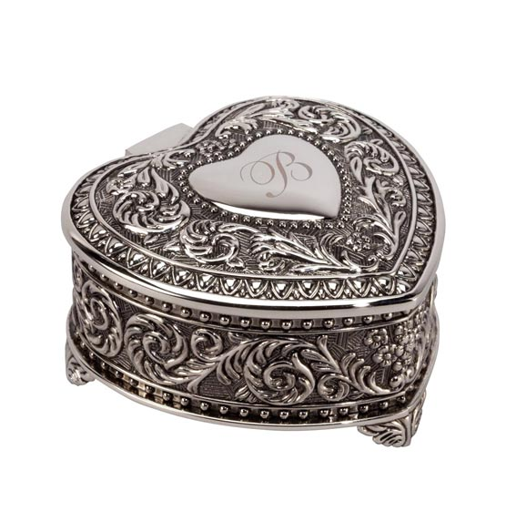 Personalized Antique Heart Keepsake Box - View 2