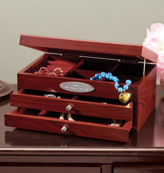Personalized Mahogany 2-Drawer Jewelry Box - View 3