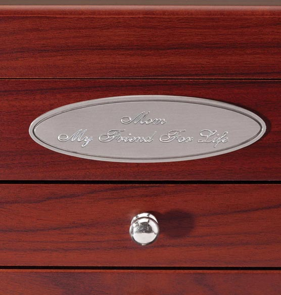 Personalized Mahogany 2 Drawer Jewelry Box - View 4