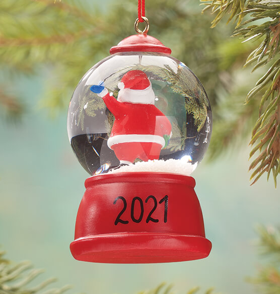 Personalized Santa Waterglobe Ornament - View 2