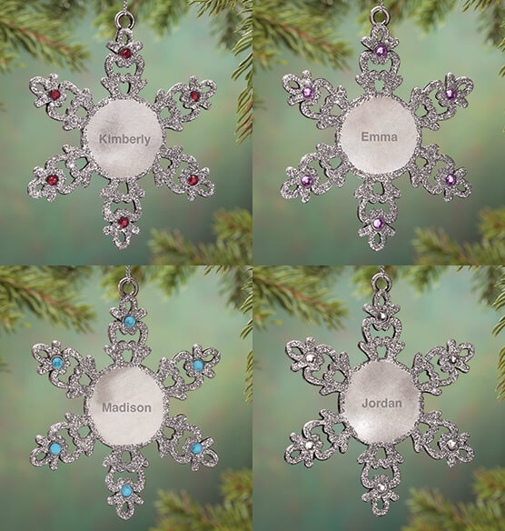 Personalized Birthstone Snowflake Pewter Ornament - View 2