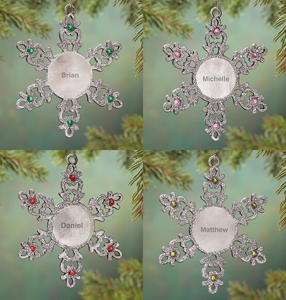 Personalized Birthstone Snowflake Pewter Ornament - View 3