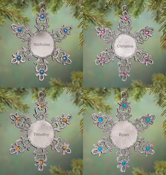 Personalized Birthstone Snowflake Pewter Ornament - View 4