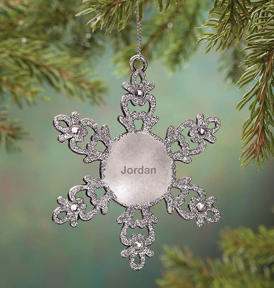Personalized Birthstone Snowflake Pewter Ornament - View 5