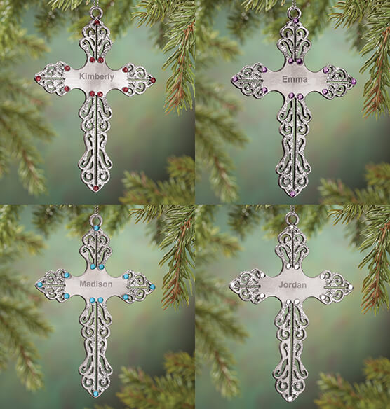 Personalized Birthstone Cross Pewter Ornament - View 2