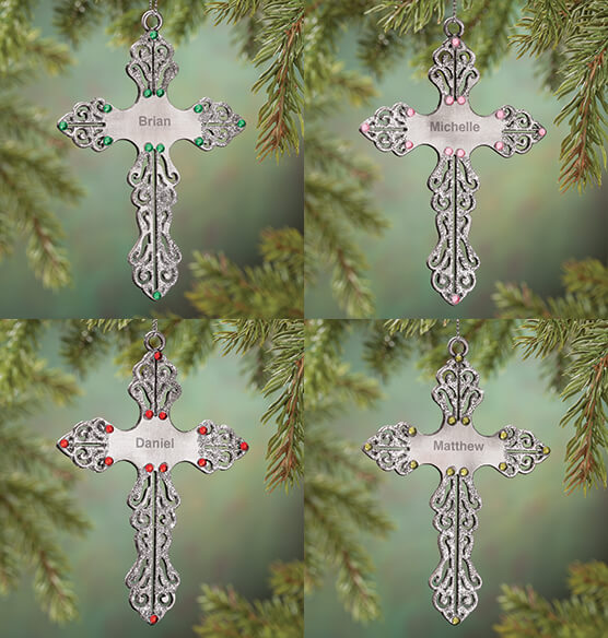 Personalized Birthstone Cross Pewter Ornament - View 3
