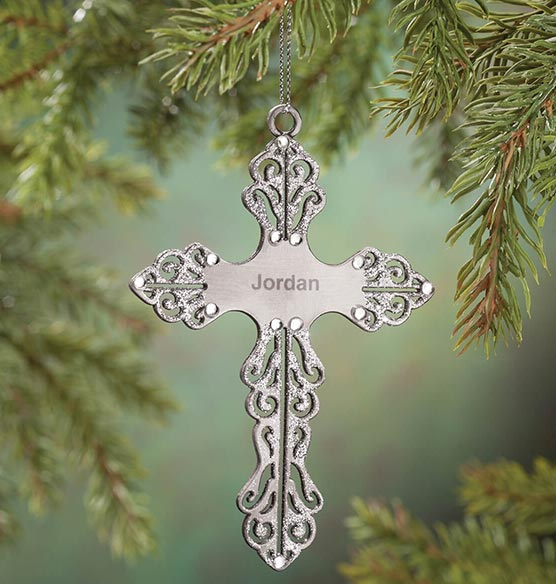 Personalized Birthstone Cross Pewter Ornament - View 5