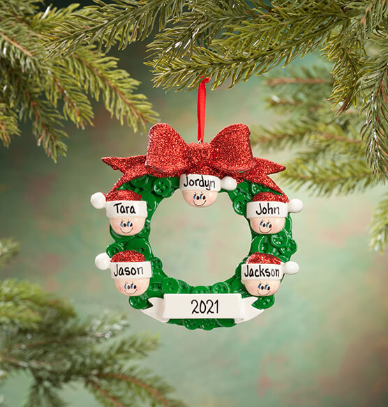 Personalized Wreath Family Ornament - View 4