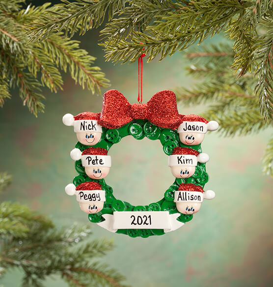 Personalized Wreath Family Ornament - View 5