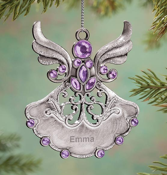 Personalized Birthstone Angel Pewter Ornament - View 5