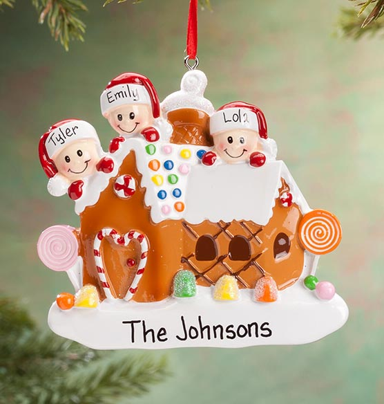Personalized Gingerbread Family Ornament - View 3