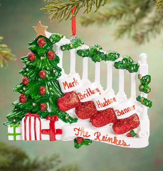 Personalized Stockings on Stairs Family Ornament - View 4