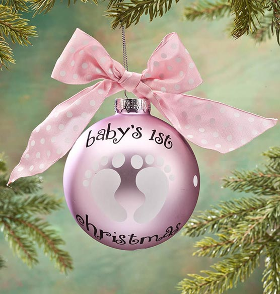 "Personalized ""Baby's 1st Christmas"" Glass Ball Ornament - View 2"