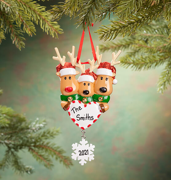 Personalized Reindeer Family Ornament - View 3