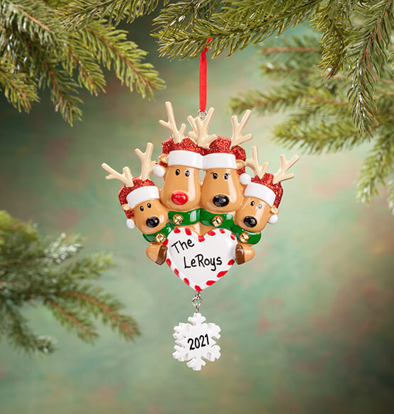 Personalized Reindeer Family Ornament - View 4