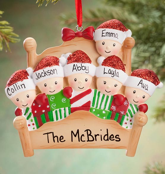 Personalized Family in Bed Ornament - View 2