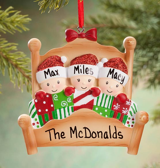 Personalized Family in Bed Ornament - View 3