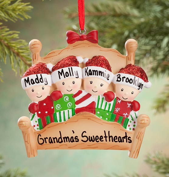 Personalized Family in Bed Ornament - View 4