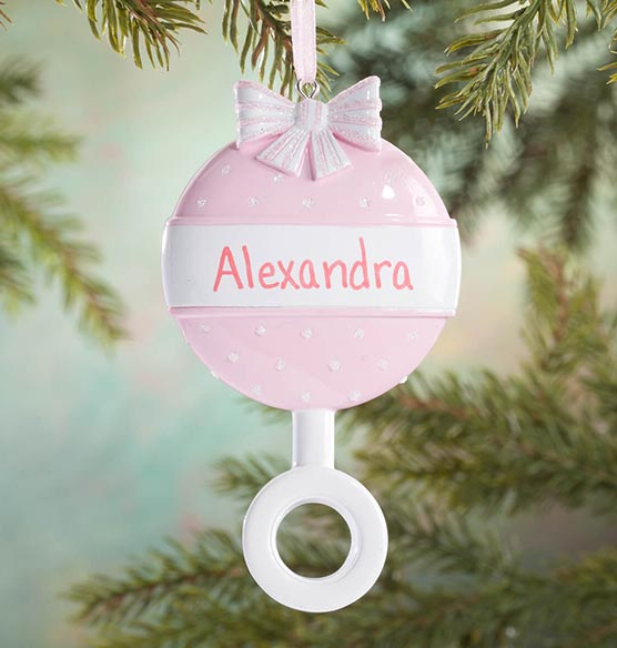 Personalized Baby Rattle Ornament - View 2