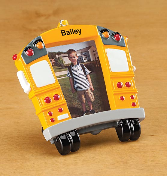Personalized School Bus Frame Ornament - View 2