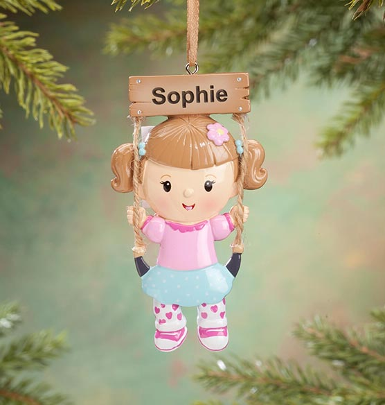 Personalized Kid on Swing Ornament - View 2