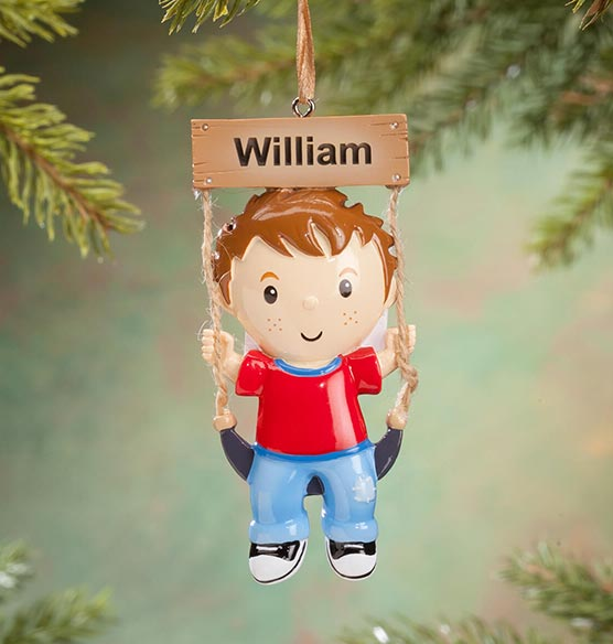 Personalized Kid on Swing Ornament - View 3