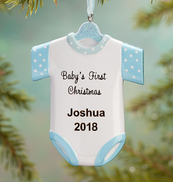 "Personalized ""Baby's First Christmas"" Onesie Ornament - View 2"
