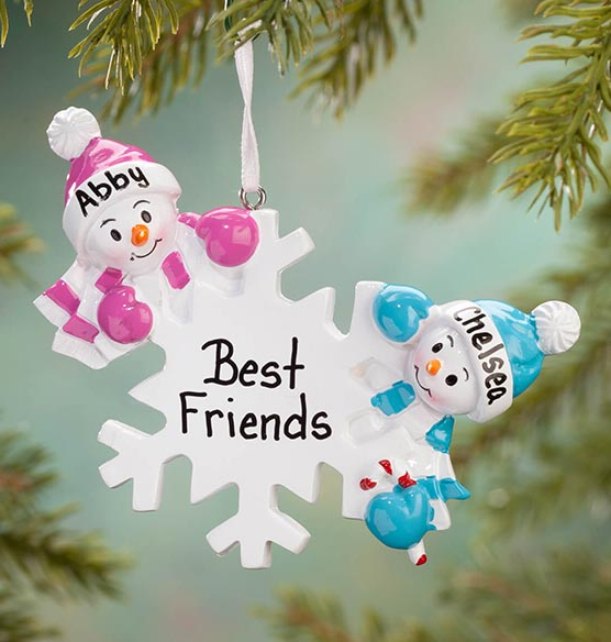 Personalized Colorful Snowmen Group Ornament - View 2