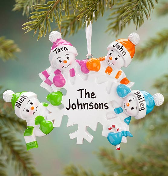 Personalized Colorful Snowmen Group Ornament - View 3