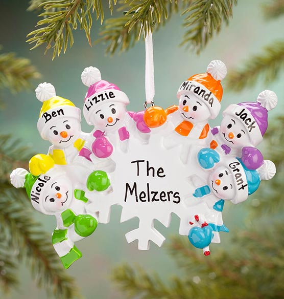 Personalized Colorful Snowmen Group Ornament - View 4