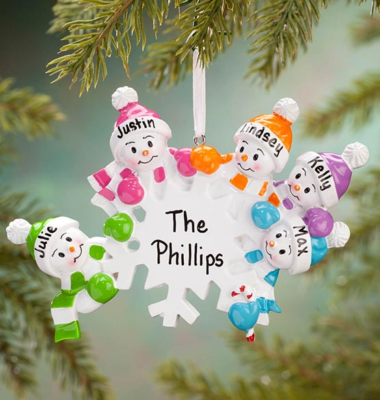Personalized Colorful Snowmen Group Ornament - View 5