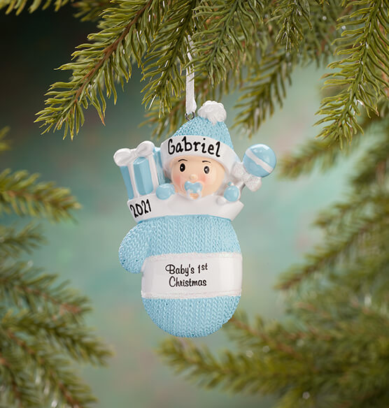 Personalized Baby's First Christmas Mitten Ornament - View 2
