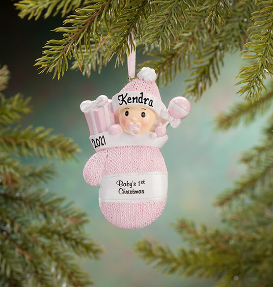 "Personalized ""Baby's 1st Christmas"" Mitten Ornament - View 3"
