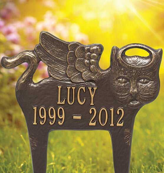 Personalized Angel Cat Pet Memorial Marker - View 2