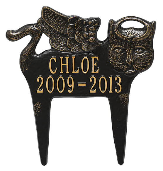 Personalized Angel Cat Pet Memorial Marker - View 3