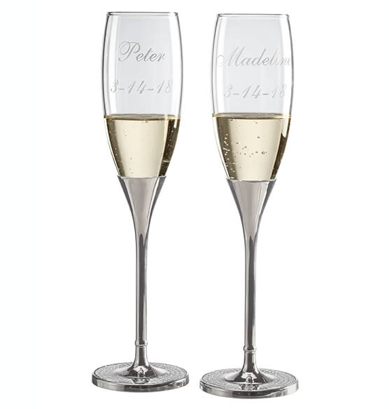 Personalized Brilliance Toasting Flute Set - View 2