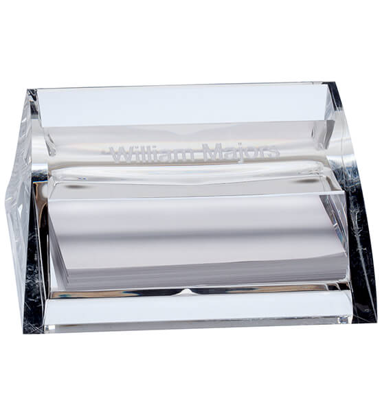 Personalized Clearylic Business Card Holder with Pad - View 2