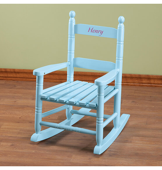Personalized Blue Children's Rocker - View 3