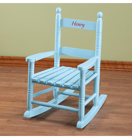 Personalized Blue Children's Rocker - View 4