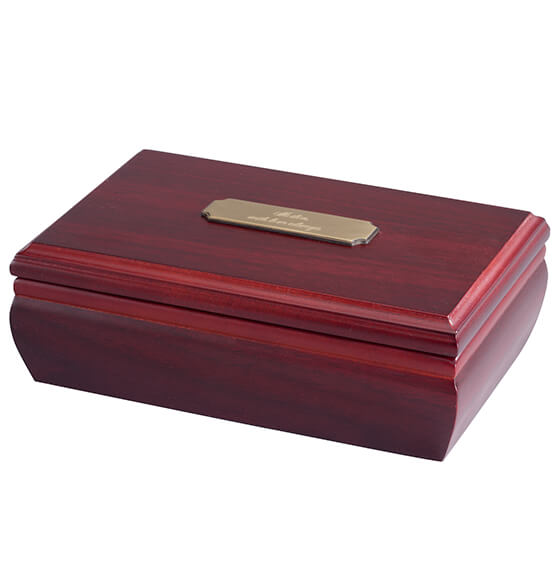 Personalized Jewelry Box with Brass Plate - View 3