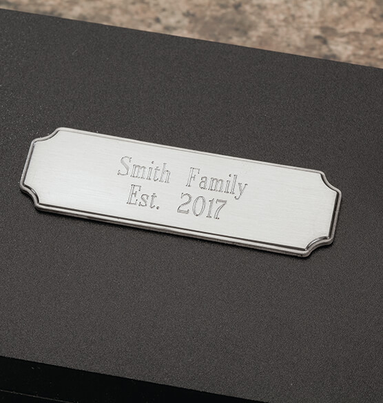 Personalized Carving Set in Black with Brushed Nickel Plate - View 2
