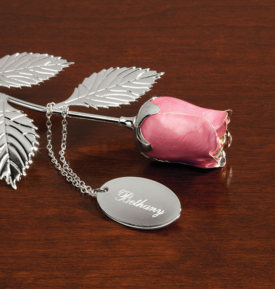 Personalized Silver Plated Pink Rose - View 3