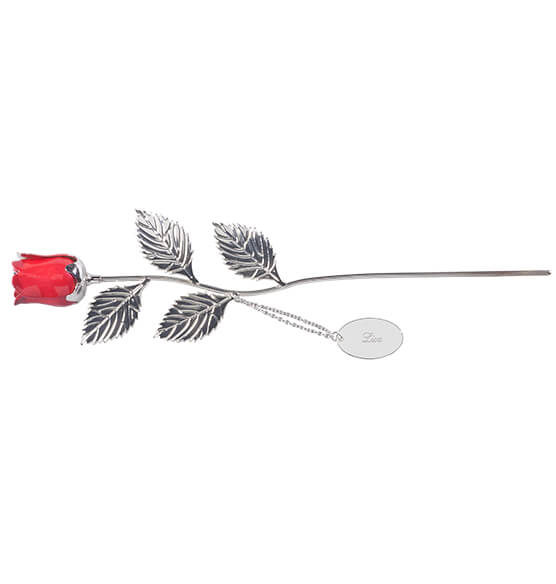 Personalized Silver Plated Red Rose - View 4