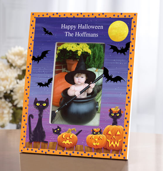 Personalized Cats, Bats and Boo Halloween Frame - View 2