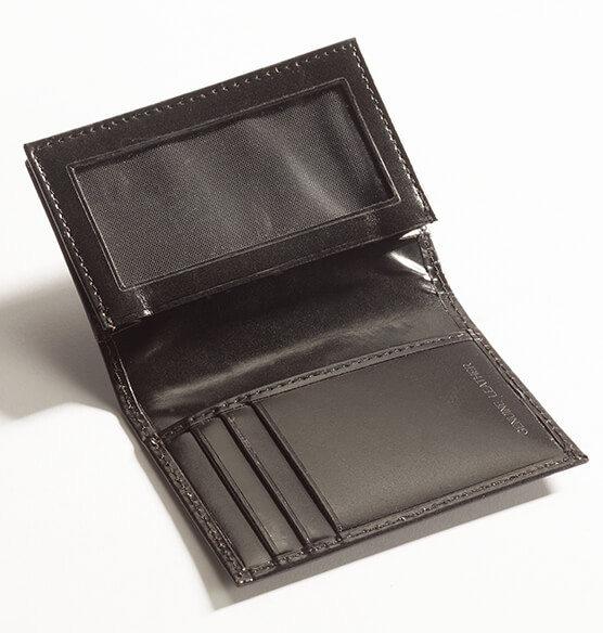 Personalized Leather Expandable Card Case - Black - View 2