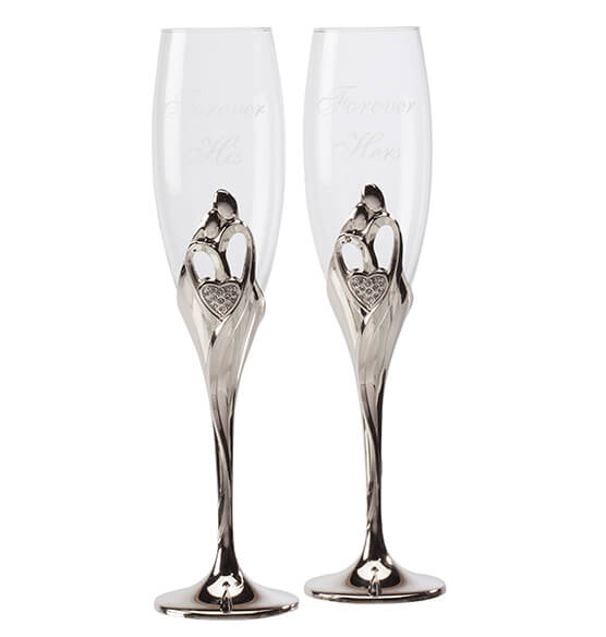 Personalized Love's Embrace Toasting Flutes - View 2