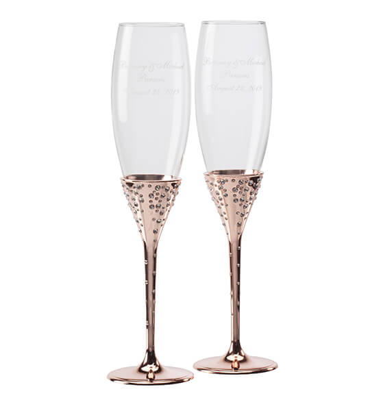 Eternal Love Rose Gold Toasting Flutes - View 2