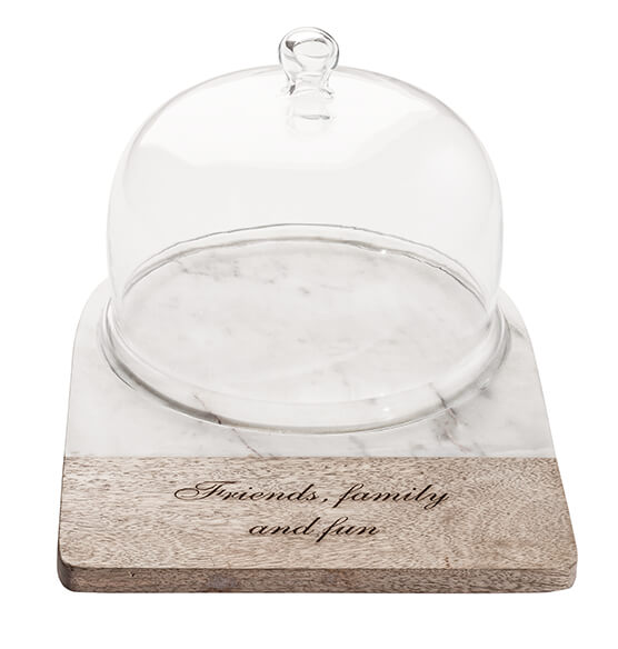 Personalized Marble and Wood Cheese Dome - View 2