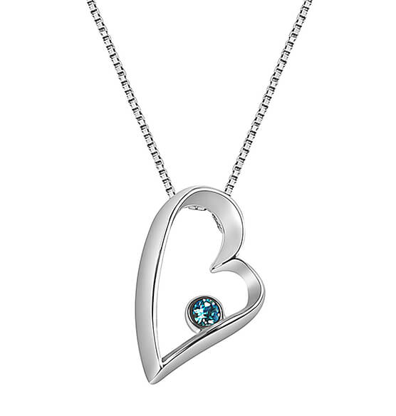 Sterling Silver Open Heart Birthstone Pendant Necklace - View 2